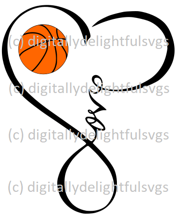 Love Basketball Heart Infinity Symbol