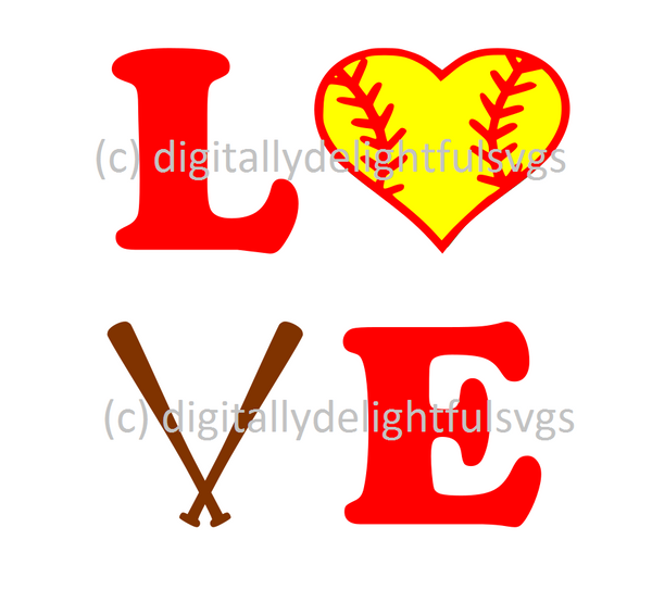 Love Softball svg