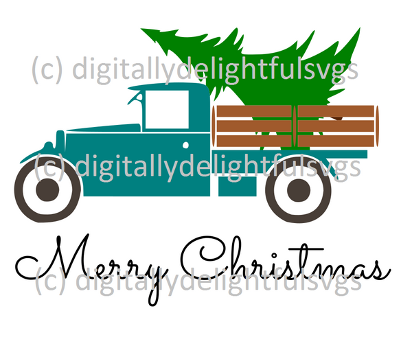Merry Christmas Antique Truck svg