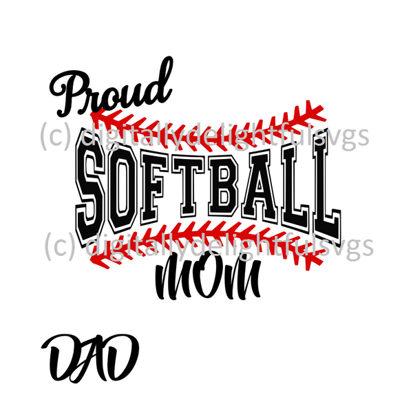 proud softball mom/dad svg