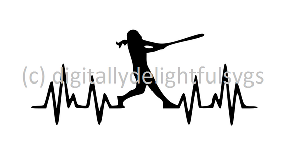 Softball Heartbeat batter svg