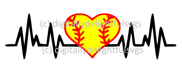 Softball heartbeat svg