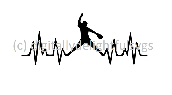 Softball Heartbeat pitcher svg
