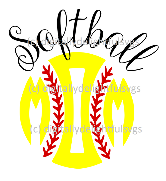 Softball mom with initials svg