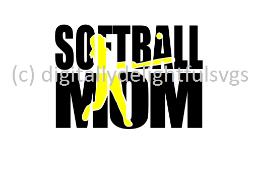 Softball mom knockout svg