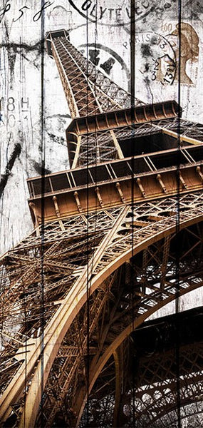 Fotomurale per porta - Photo wallpaper - Eiffel Tower on wood I