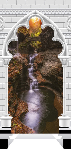 Fotomurale per porta - Photo wallpaper - Gothic arch and waterfall V