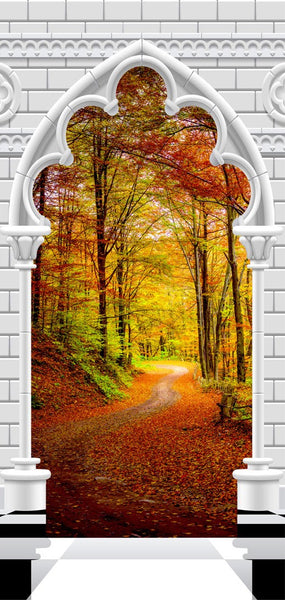 Fotomurale per porta - Photo wallpaper - Gothic Arch and forest in atumn I
