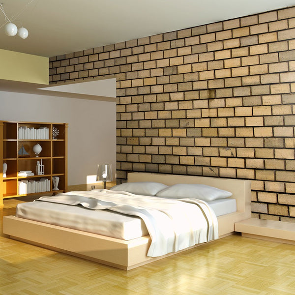 Fotomurale - Brick wall in beige color