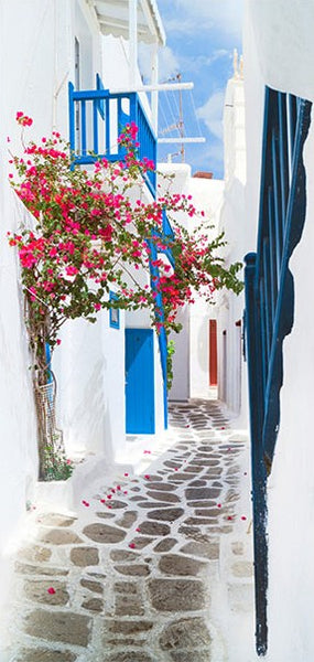 Fotomurale per porta - Walk through Santorini