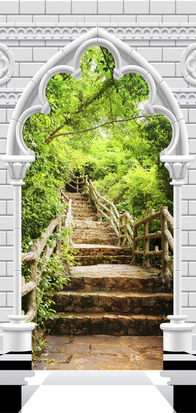 Fotomurale per porta - Photo wallpaper - Gothic arch and stone staircase I
