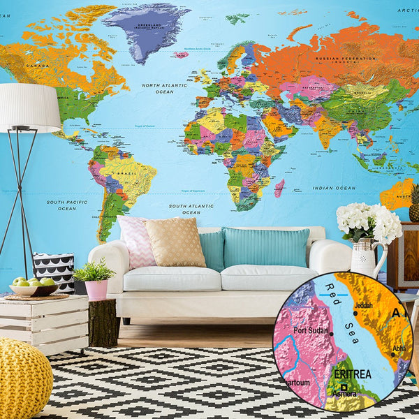 Fotomurale XXL - World Map: Colourful Geography II