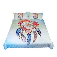 Lenzuola Dreamcatcher Bedding Set Queen Floral Rose Quilt Cover With Pillowcases Feathers Print Bedclothes Blue Bed Set