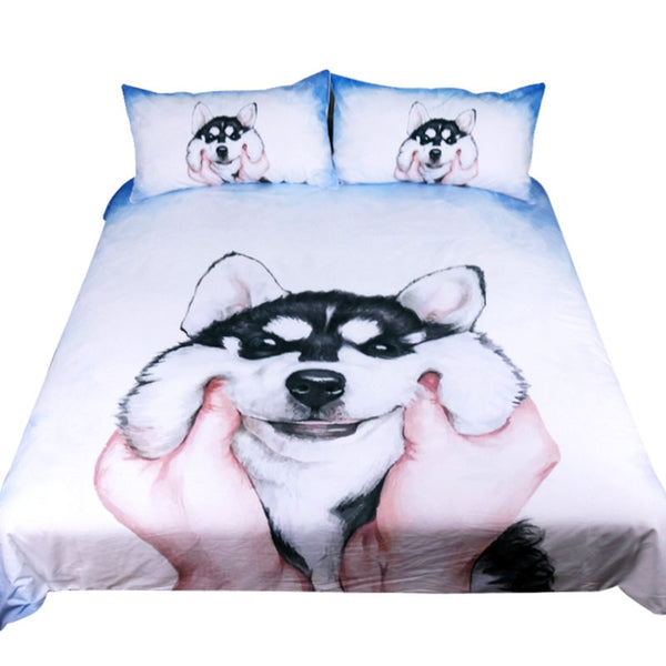 Lenzuola Husky Puppy Bedding Set Queen King Watercolor Duvet Cover With Pillowcases Bed Set Animal Bedclothes 3pcs