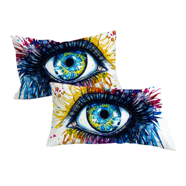 Federe Rainbow Fire by Pixie Cold Art Pillowcase Colorful Pillow Case Charming Eye Home Textiles Watercolor Pillow Cover 2pcs