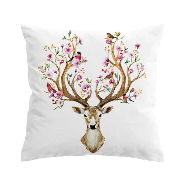 Cuscino Elk Cushion Cover Floral Moose Pillow Case Flowers Animal Reindeer Printed Throw Cover  Pillow Covers