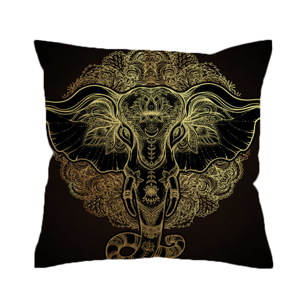 Cuscino Tribal Elephant Cushion Cover Indian  Ganesha Pillowcase Sofa Ethnic Throw Cover Boho  Pillow Cover