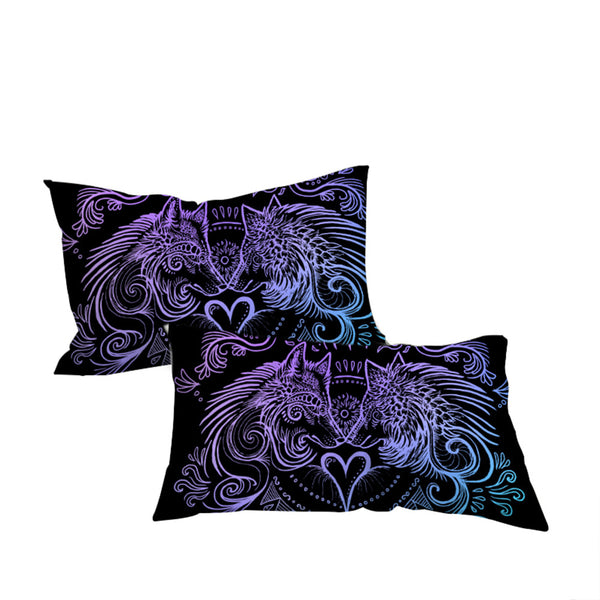 Federe  Heart by SunimaArt Pillowcase Blue and Purple Pillow Case Feathers Bedding Home Textile For Couples Pillow Cover 2pcs