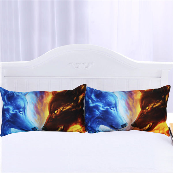 Federe Fire and Ice by JoJoesArt Pillowcase Blue and Yellow Pillow Case wolf wolves Bedding Home Textiles Microfiber Pillow Cover 2pcs