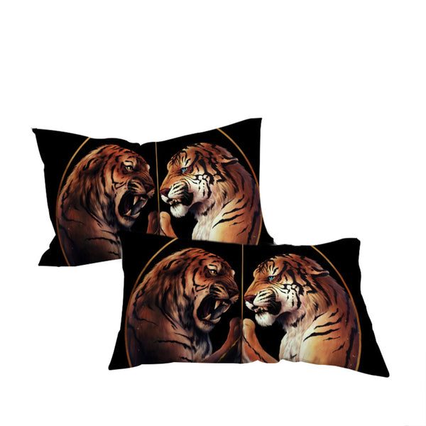 Federe Peace Black by JoJosArt Pillowcase Black Pillow Case TwoTigers Bedding  Home Textiles Microfiber Pillow Cover 2pcs
