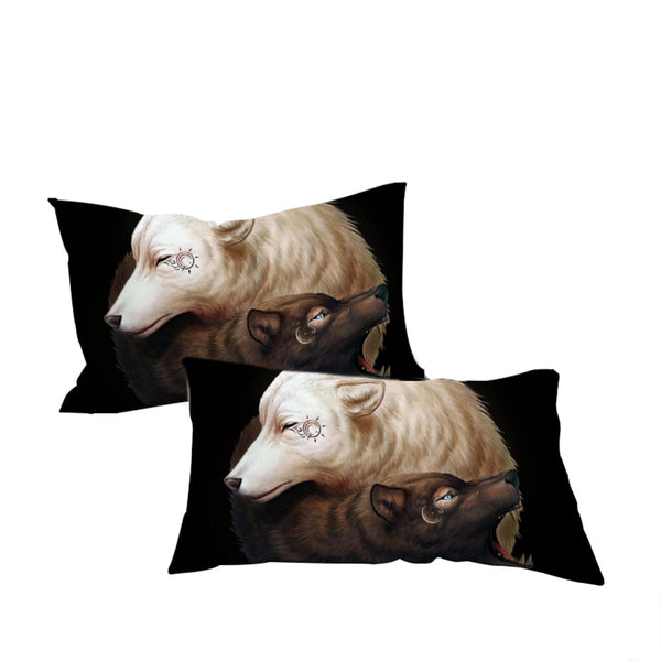 Federe Yin and Yang Wolves Black by JoJoesArt Pillowcase Home Textiles  Wolf Bedding  Microfiber Tai Chi Pillow Cover 2pcs