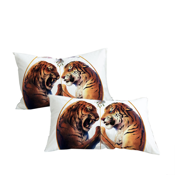 Federe Peace by JoJosArt Pillowcase White Pillow Case Two Tigers Bedding  Home Textiles Microfiber Pillow Cover 2pcs