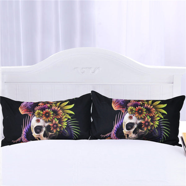 Federe Flowery Skull by SunimaArt Pillowcase Purple Flower Pillow Case Monster Floral Bedding Microfiber Pillow Cover 2pc
