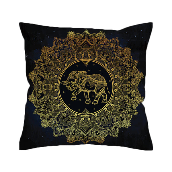 Cuscino Tribal Elephant Cushion Cover Mandala Pillowcase Throw Cover  Bohemian Decorative Pillow Cover