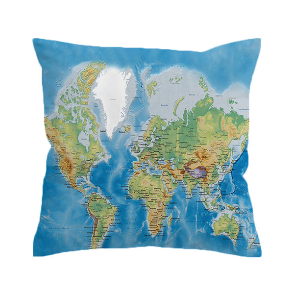 Cuscino World's Map Vivid Printed Cushion Cover Pillow Case Soft Throw Cover For Young People