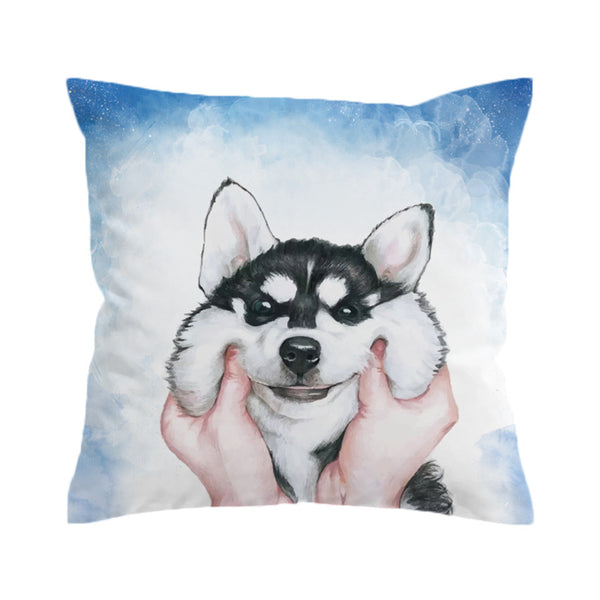 Cuscino Husky Puppy Cushion Cover Pillow Case Square Throw Cover for Kids Decorative Pillow Cover
