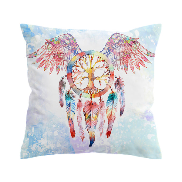 Cuscino Dreamcatcher Cushion Cover Feathers Print Pillow Case Throw Cover Angel Wings Pillow Cover