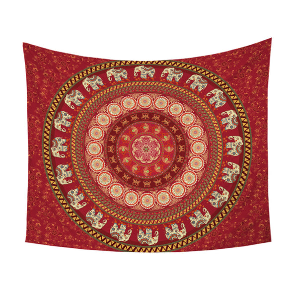 Arazzo Mandala Tapestry Elephant Indian Wall Hanging Carpet Bohemia Microfiber Soft Boho Home Decor