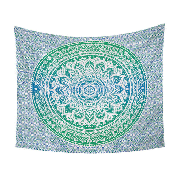 Arazzo Blue and Green Mandala Flower Tapestry Bohemia Wall Hanging Art Carpet Boho Decorative Tapestry Chic Sheet