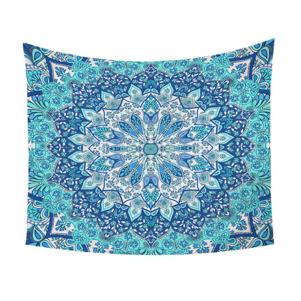 Arazzo Blue and Purple Glowing Mandala Tapestry Wall Hanging Boho Printed Decorative Wall Art Floral Bedspreads Bohemia Yoga Mat