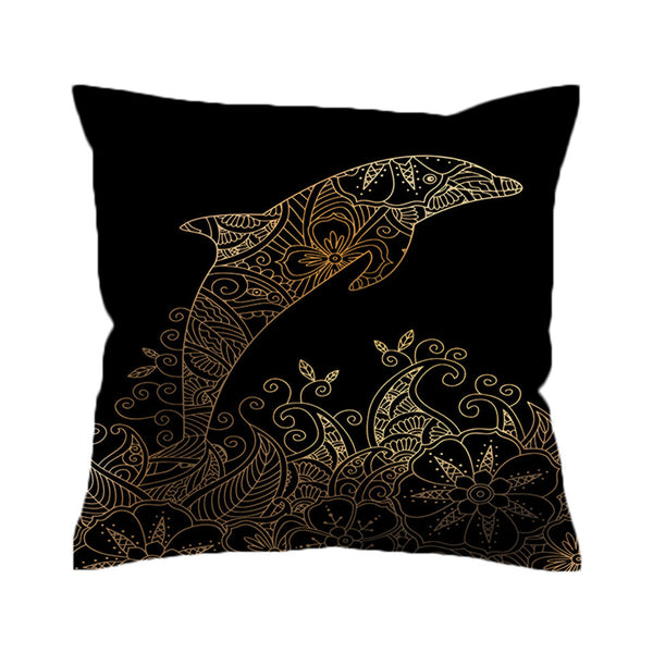Cuscino Dolphin Cushion Cover Bohemian Pillow Case Floral Throw Cover Boho Printed Decorative Pillow Cover