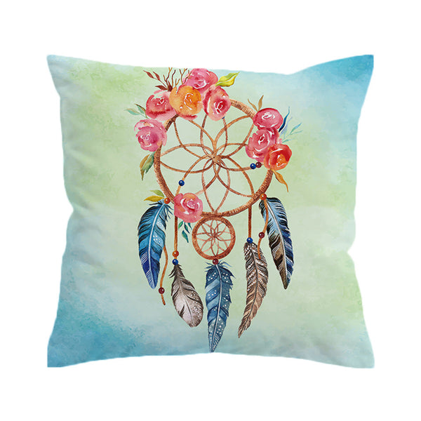 Cuscino Dreamcatcher Cushion Cover Floral Rose Pillow Case Throw Cover Feathers Print Pillow Cover
