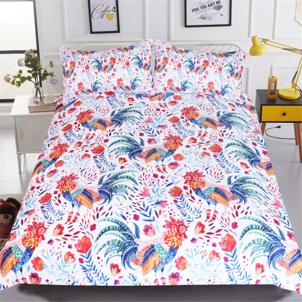Lenzuola Cook Kids Bedding Set Cartoon Bed Cover Rooster Floral Girls Duvet Cover Set Colorful Bedclothes