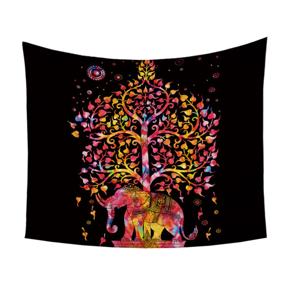 Arazzo Elephant With Tree Tapestry Bohemia Wall Carpet Boho India Mandala Hanging Wall Tapestry Black and White