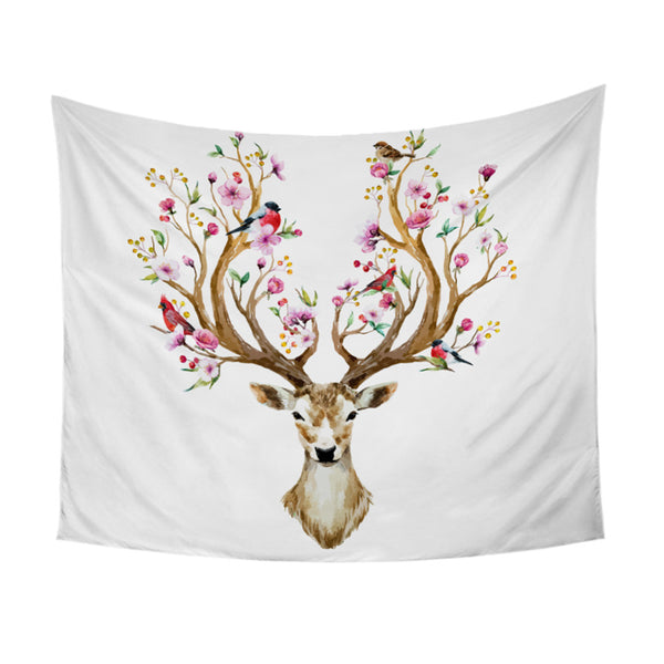 Arazzo Elk Tapestry Floral Moose Wall Hanging Flowers Animal Reindeer Printed Wall Carpet Decorative Tapestry