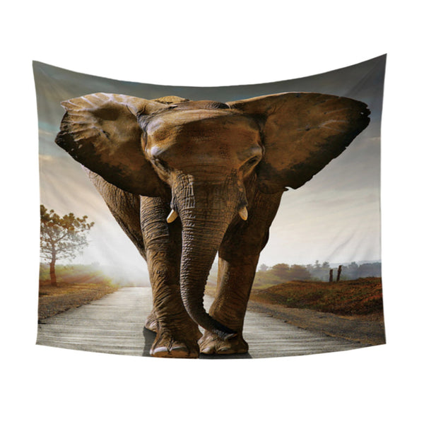 Arazzo 3D Elephant Tapestry Vivid Printed Wall Carpet India Hanging Wall Tapestries Polyester Picnic Sheet 2 Sizes Hot