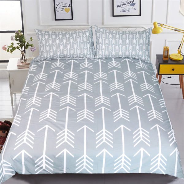 Lenzuola Classical Bedding Set Simple Style Arrow Printed Duvet Cover With Pillowcase Gray and White Bed Set Bedclothes