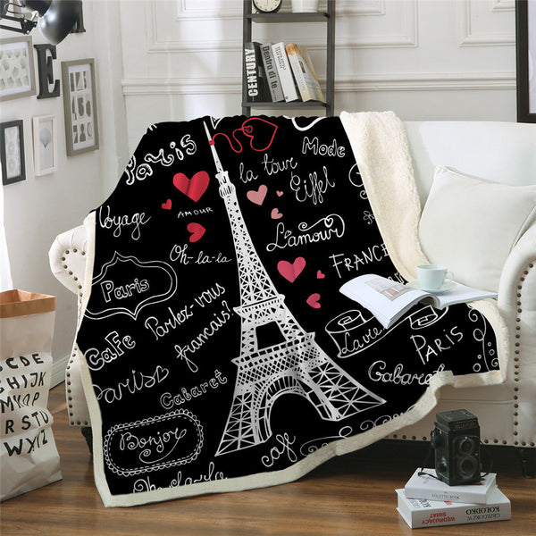 Coperta letto Paris Tower Throw Blanket on the Bed Romantic Letters Sherpa Fleece Blanket Heart Plush Sofa Plaid 1pc