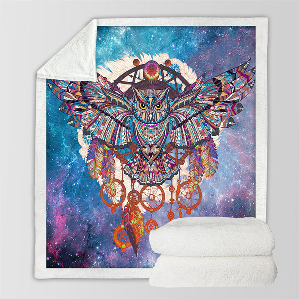 Coperta letto Owl Dreamcatcher Blanket Microfiber Bohemia Plush Sherpa Fleece Throw Blanket on Bed Galaxy Bedding manta