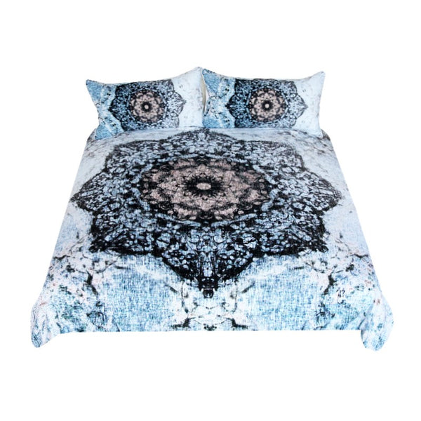 Lenzuola Mandala Bedding Set Black and Blue Duvet Cover Set Floral Printed Bed Cover for Adults Flower Bedclothes