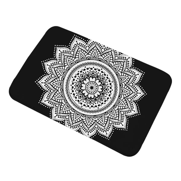 Tappeto antiscivolo Mandala Bathroom Rugs Non-slip Black and White Floral Kitchen Carpet Bohemian Lotus Door Mats Outdoor 40x60cm