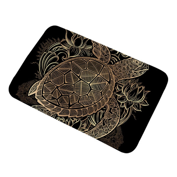 Tappeto antiscivolo Turtles Bath Rugs Non-slip Animal Golden Tortoise Door Carpet Flowers Lotus Bohemian Floor Mat Home Decor 50x80cm
