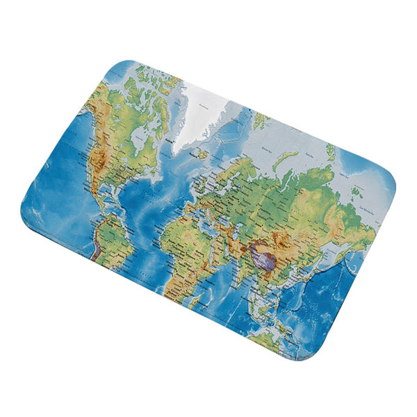 Tappeto antiscivolo World Map Bathroom Rugs Non-slip Vivid Printed Blue Carpet Super Soft Door Mats Indoor Home Decoration
