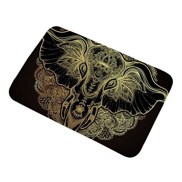 Tappeto antiscivolo Tribal Elephant Bathroom Rugs Non-slip Boho Mandala Golden Area Rug Ethnic Indian God Ganesha Door Mats Outdoor