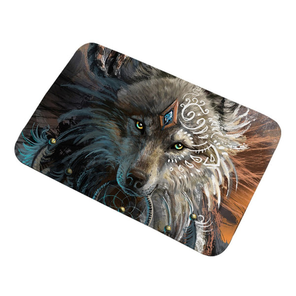 Tappeto antiscivolo Wolf Warrior by SunimaArt Bath Rugs Non-slip Soft Area Rug for Living Room Indian Wolf With Dreamcatcher Doormats Outdoor tapete