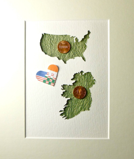 American Irish Hand Crafted Mounted Map Art With Real Coins, Stars and Stripes